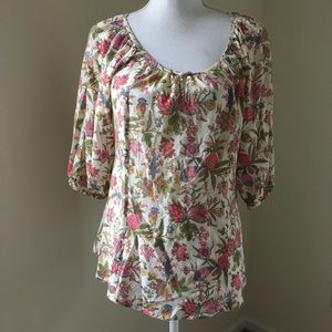 Lucky Brand Pink Floral Peasant Blouse